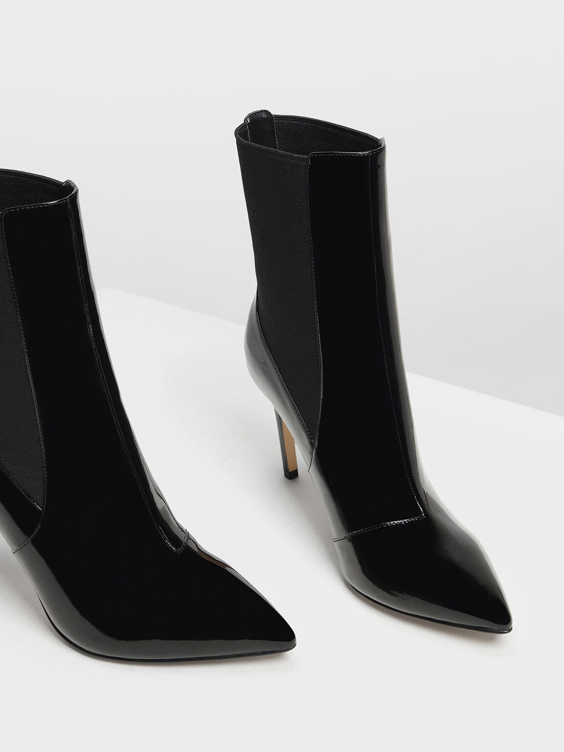 Pointed Toe Chelsea Boots, Black, hi-res