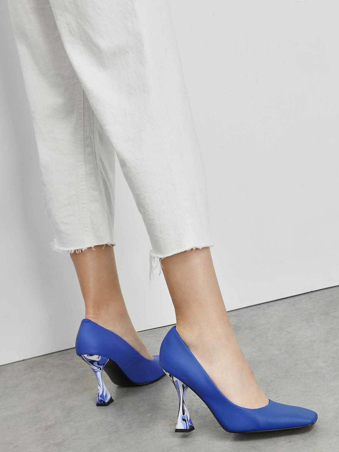 Square Toe Geometric Heel Pumps, Blue, hi-res