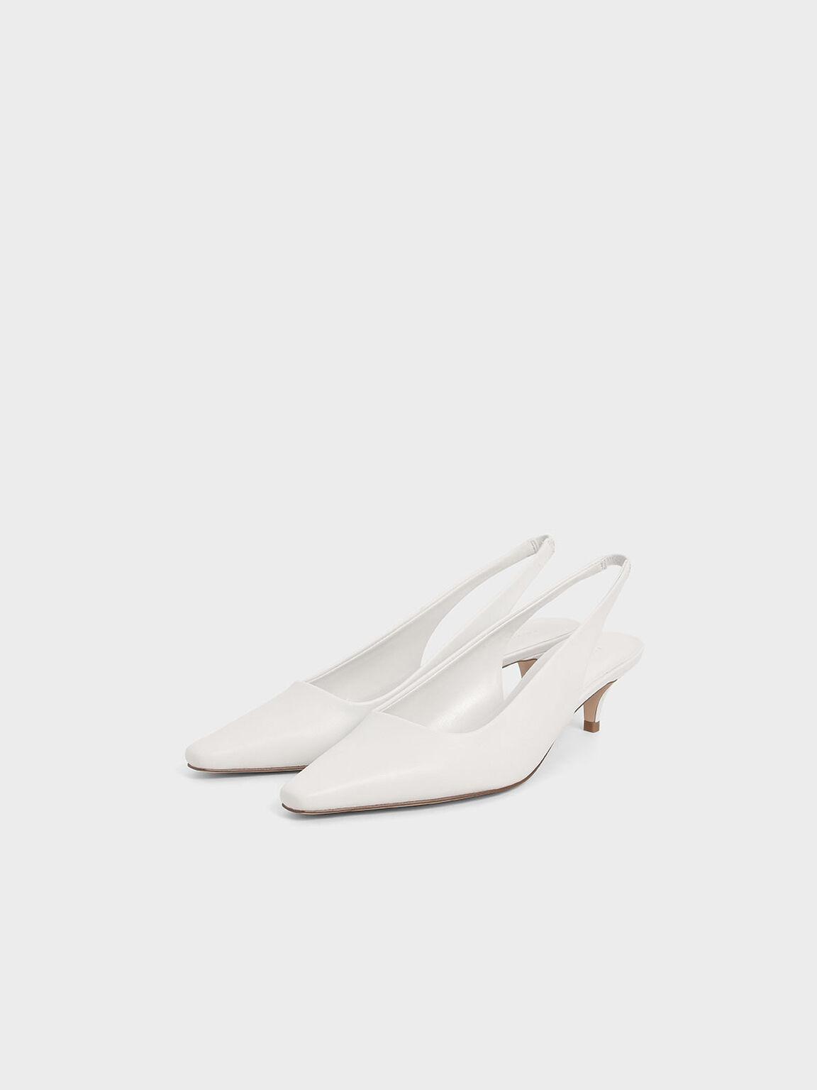Kitten Heel Slingback Pumps, White, hi-res