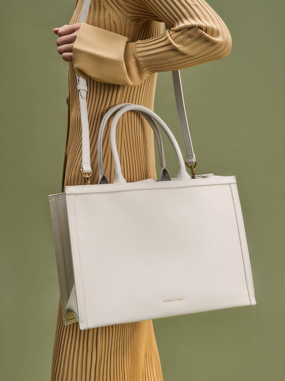 Large Double Handle Tote Bag, Cream, hi-res