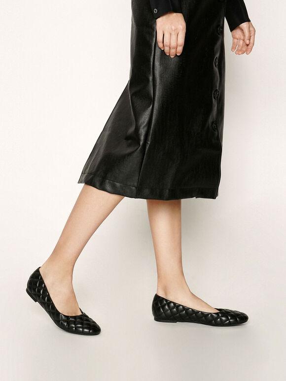 Quilted Ballerina Flats, Black, hi-res