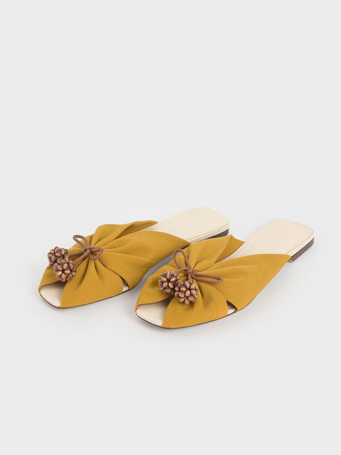 Cherry Embellished Peep-Toe Slide Sandals, Mustard, hi-res