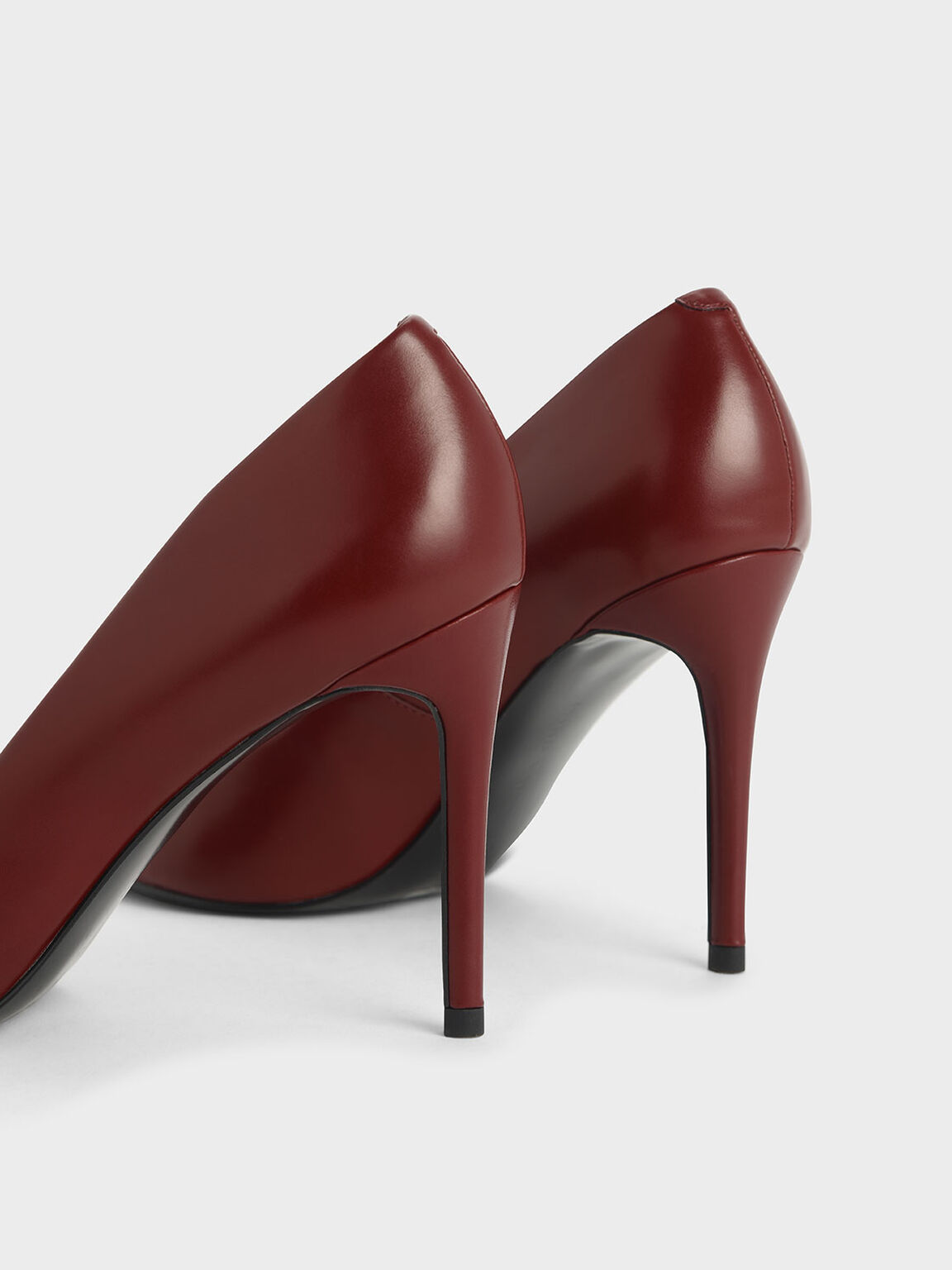 Metallic Accent Pointed Toe Stiletto Pumps, Red, hi-res