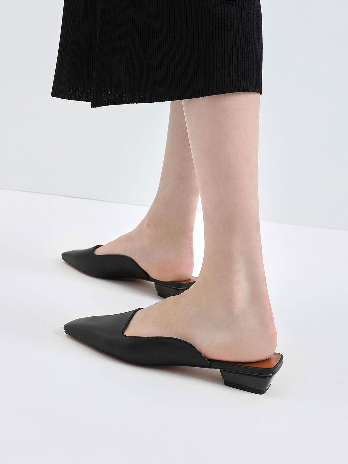 Square Toe Stacked Heel Mules, Black, hi-res
