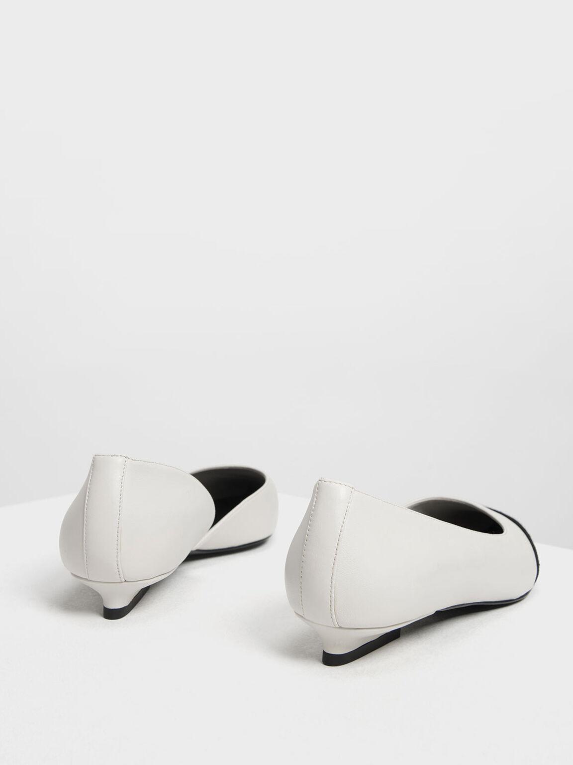 Asymmetrical Leather Ballerinas, White, hi-res