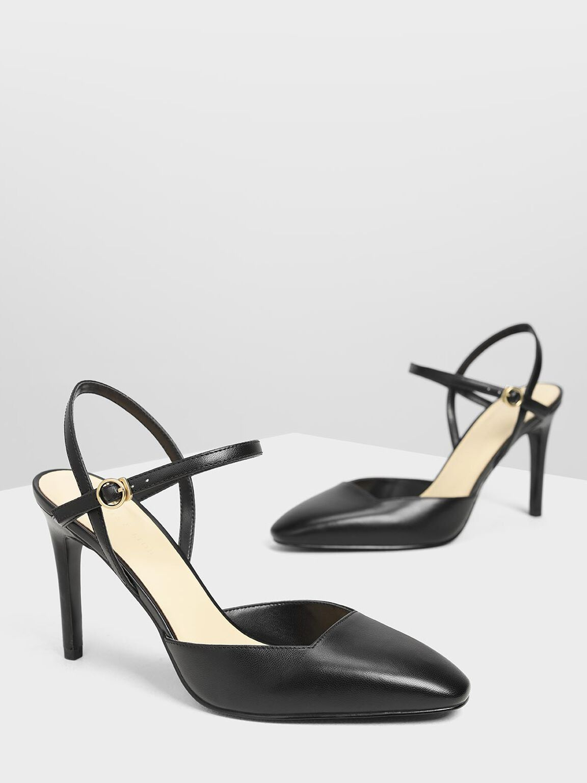 Ankle Strap Covered Heels, Black, hi-res