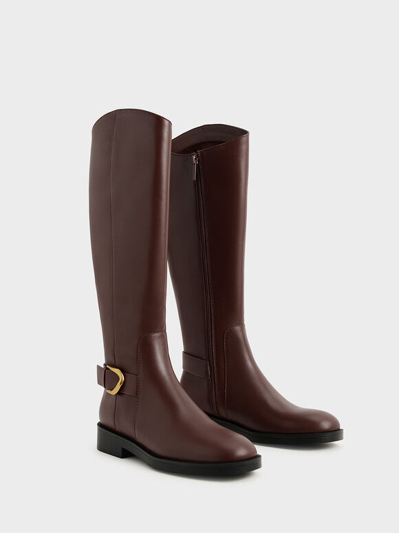 Gabine Buckled Leather Knee-High Boots, Brown, hi-res