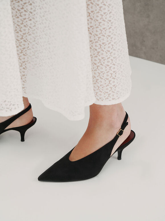 Textured Pointed Toe Slingback Court Shoes, Black Textured, hi-res