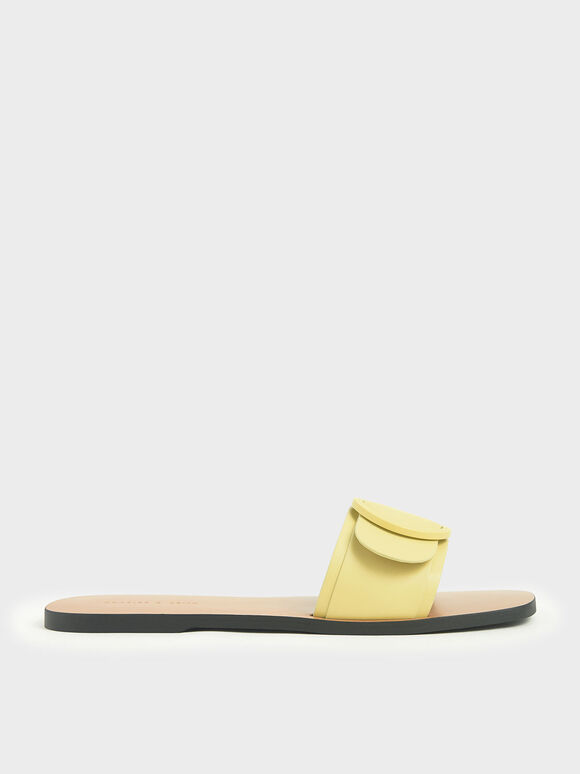 Buckle Strap Slide Sandals, Yellow, hi-res
