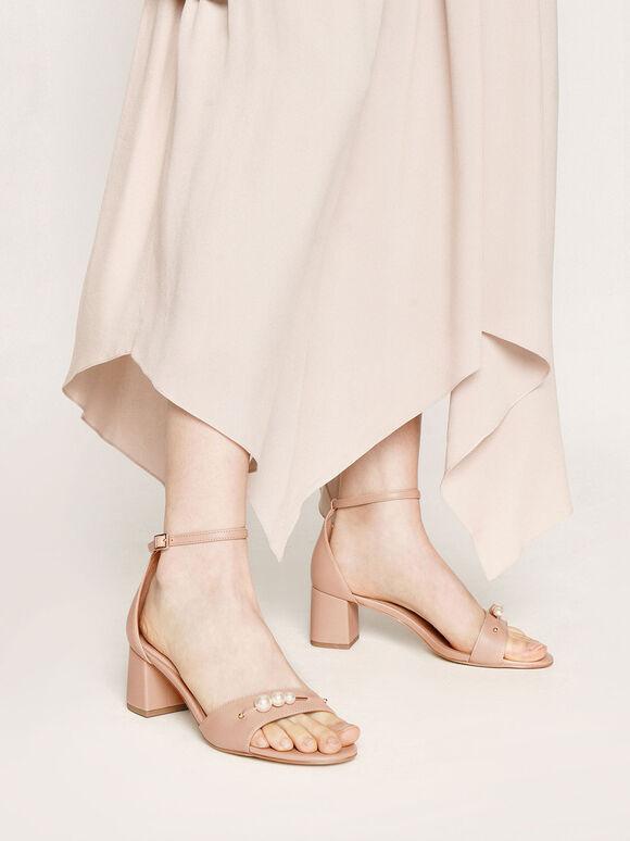 Embellished Block Heel Sandals, Nude, hi-res