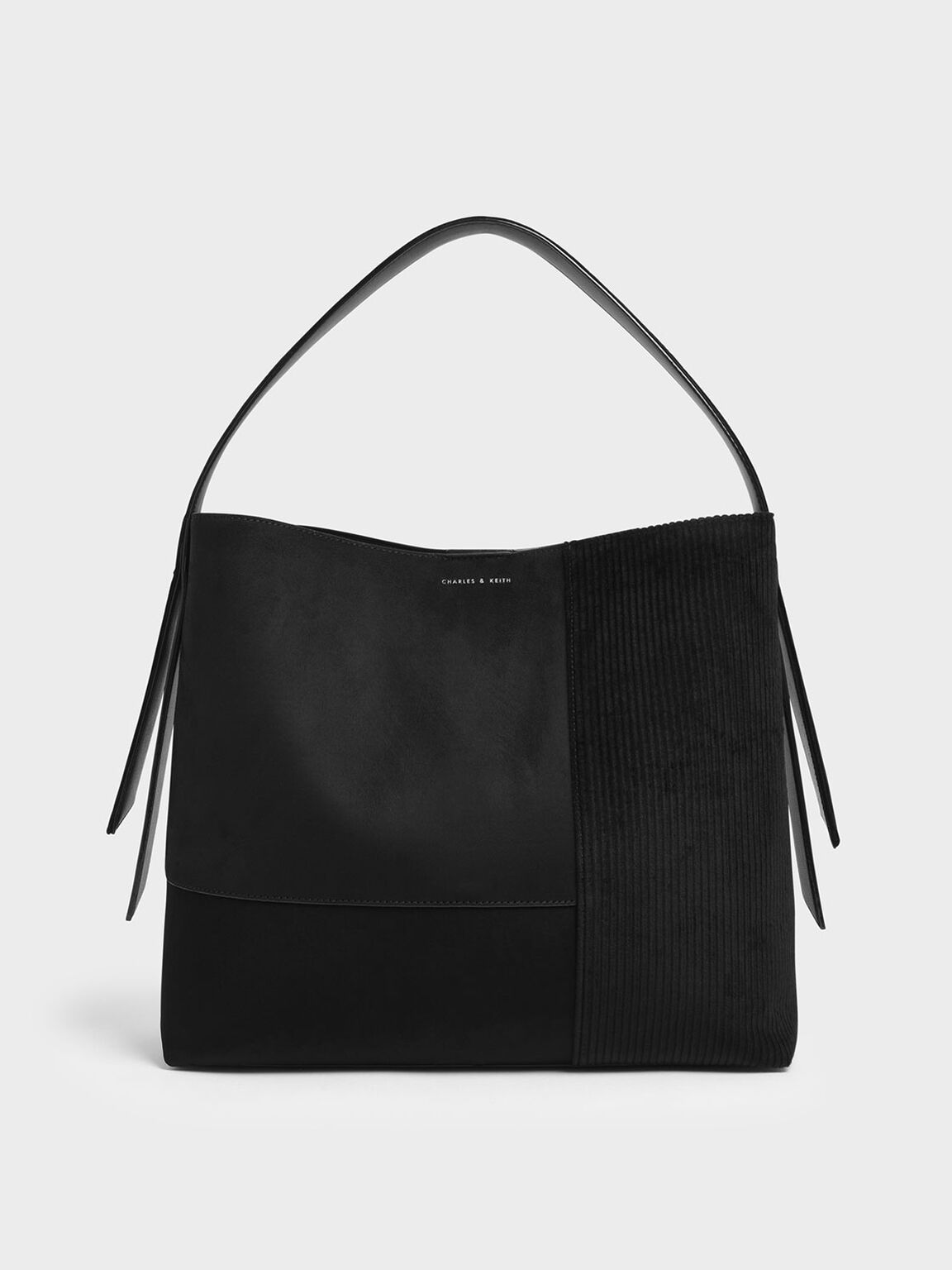 Velvet & Corduroy Square Tote Bag, Black, hi-res