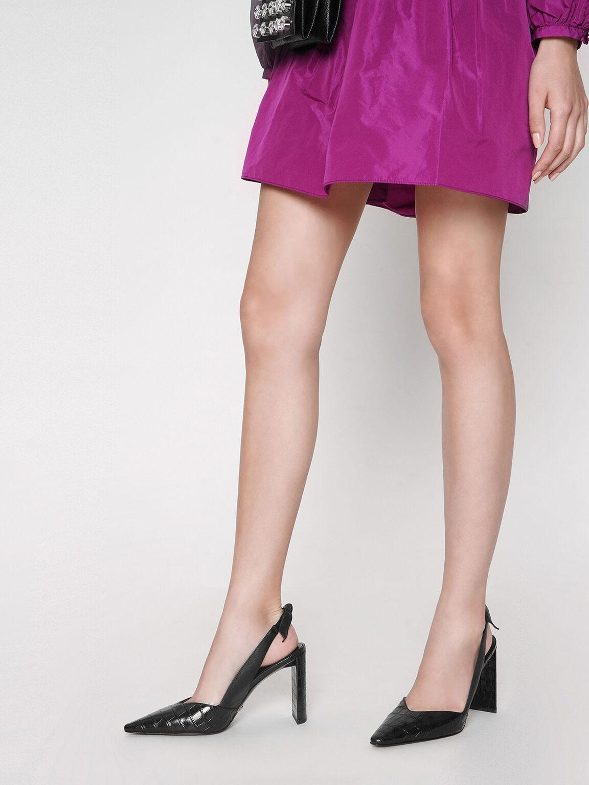 Leather Croc-Effect Bow-Slingback Heels, Black, hi-res