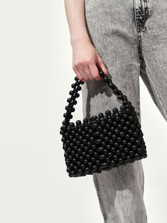 Mini Beaded Bag, Black, hi-res