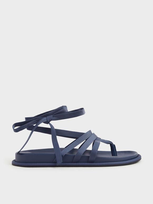 Grosgrain Tie-Around Thong Sandals, Blue, hi-res