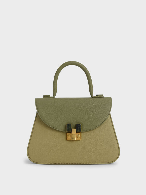Stone-Embellished Sculptural Bag, Sage Green, hi-res