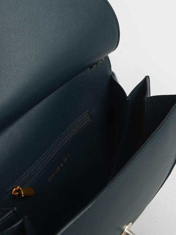 Ring Push-Lock Saddle Bag, Teal, hi-res