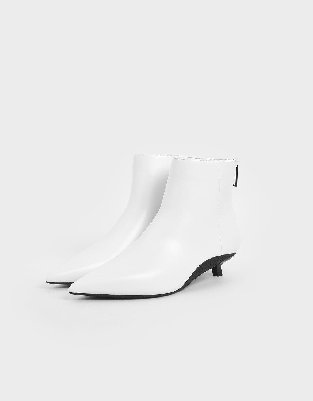 Two-Tone Kitten Heel Ankle Boots