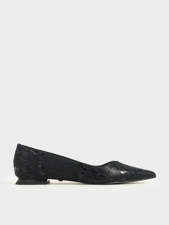 Patent Leather Lace Ballerina Flats, Black, hi-res