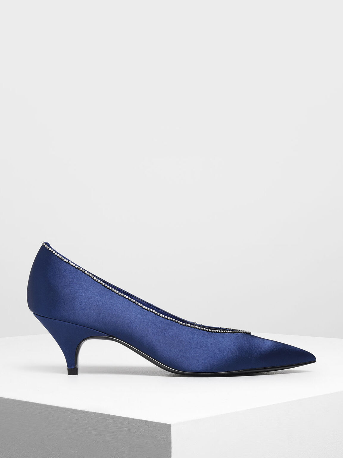 Gem Embellished Satin Kitten Heel Pumps, Blue, hi-res