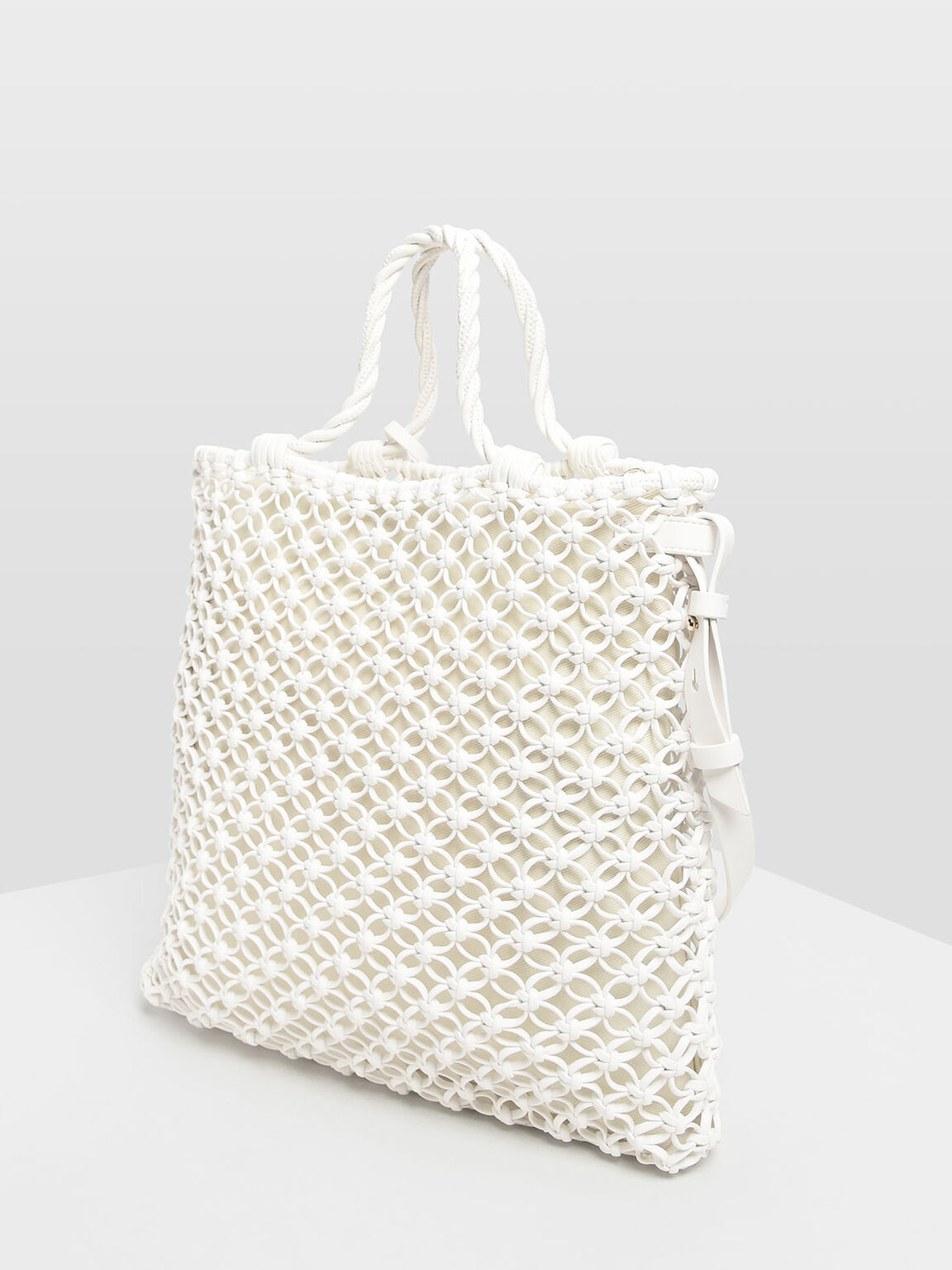 Knitted Tote Bag, White, hi-res