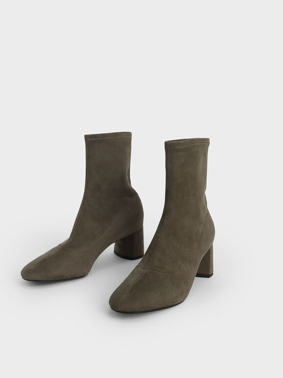 Textured Sculptural Heel Ankle Boots, Military Green, hi-res