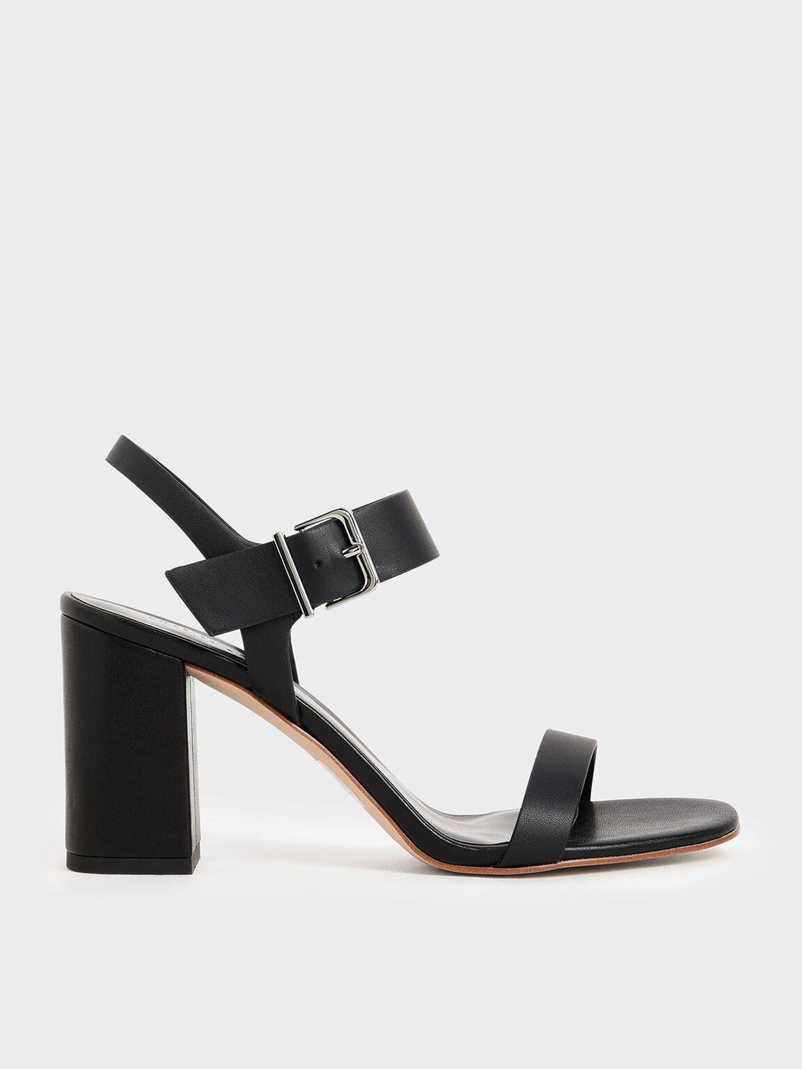 Block Heel Sandals, Black, hi-res