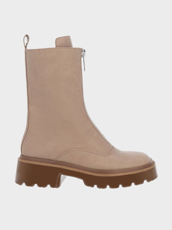 Billie Front-Zip Ankle Boots, Taupe, hi-res