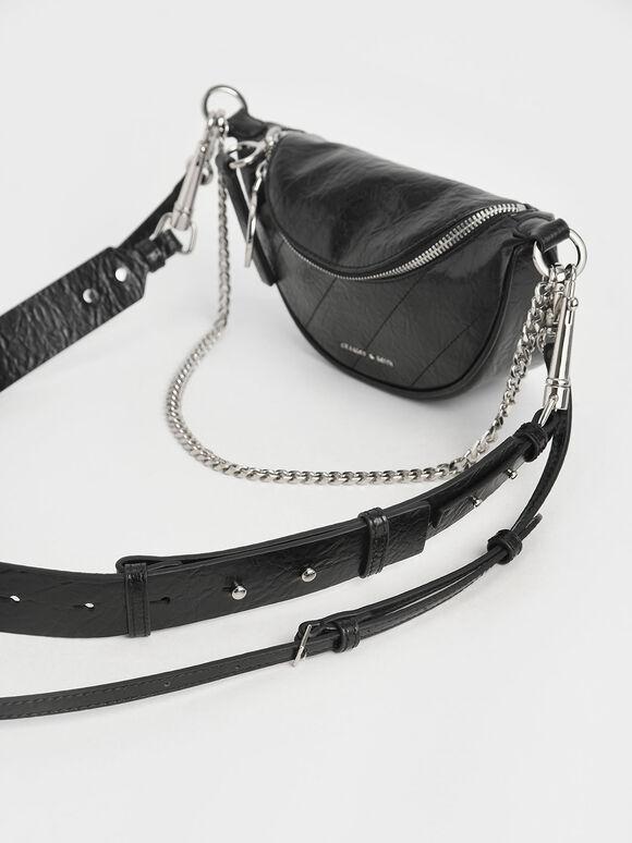 Wrinkled-Effect Saddle Bag, Black, hi-res