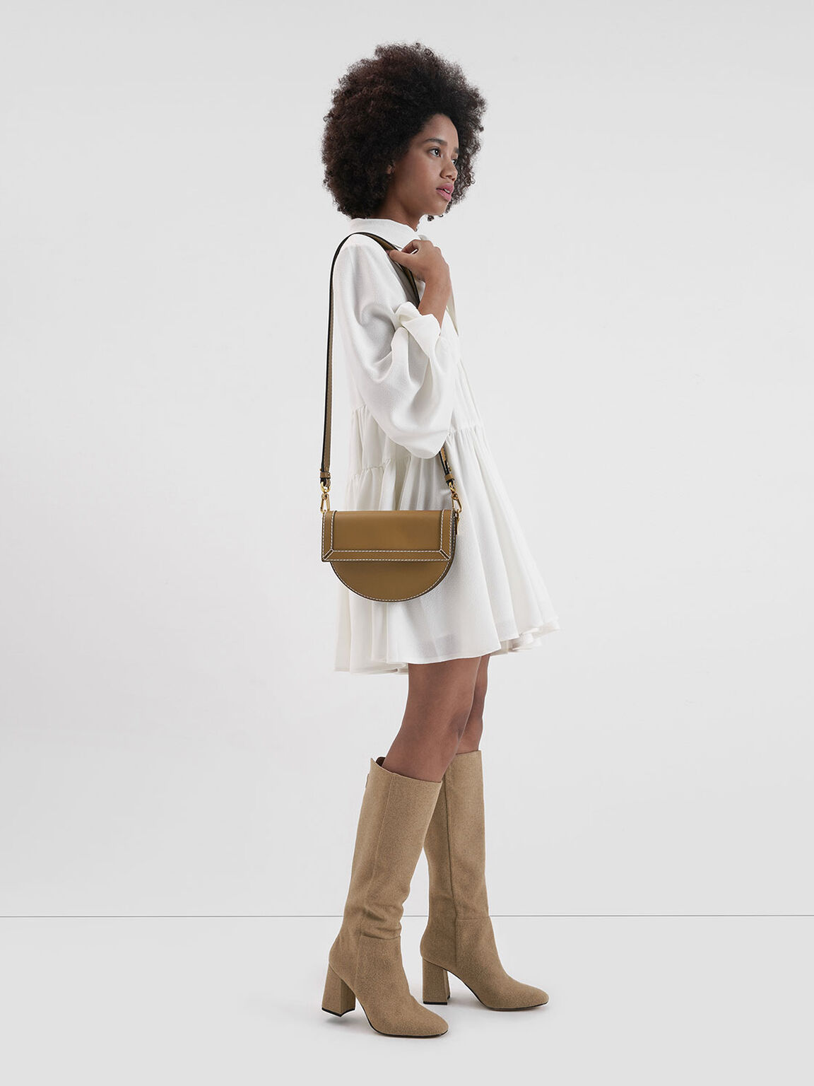 Front Flap Semi-Circle Crossbody Bag, Camel, hi-res