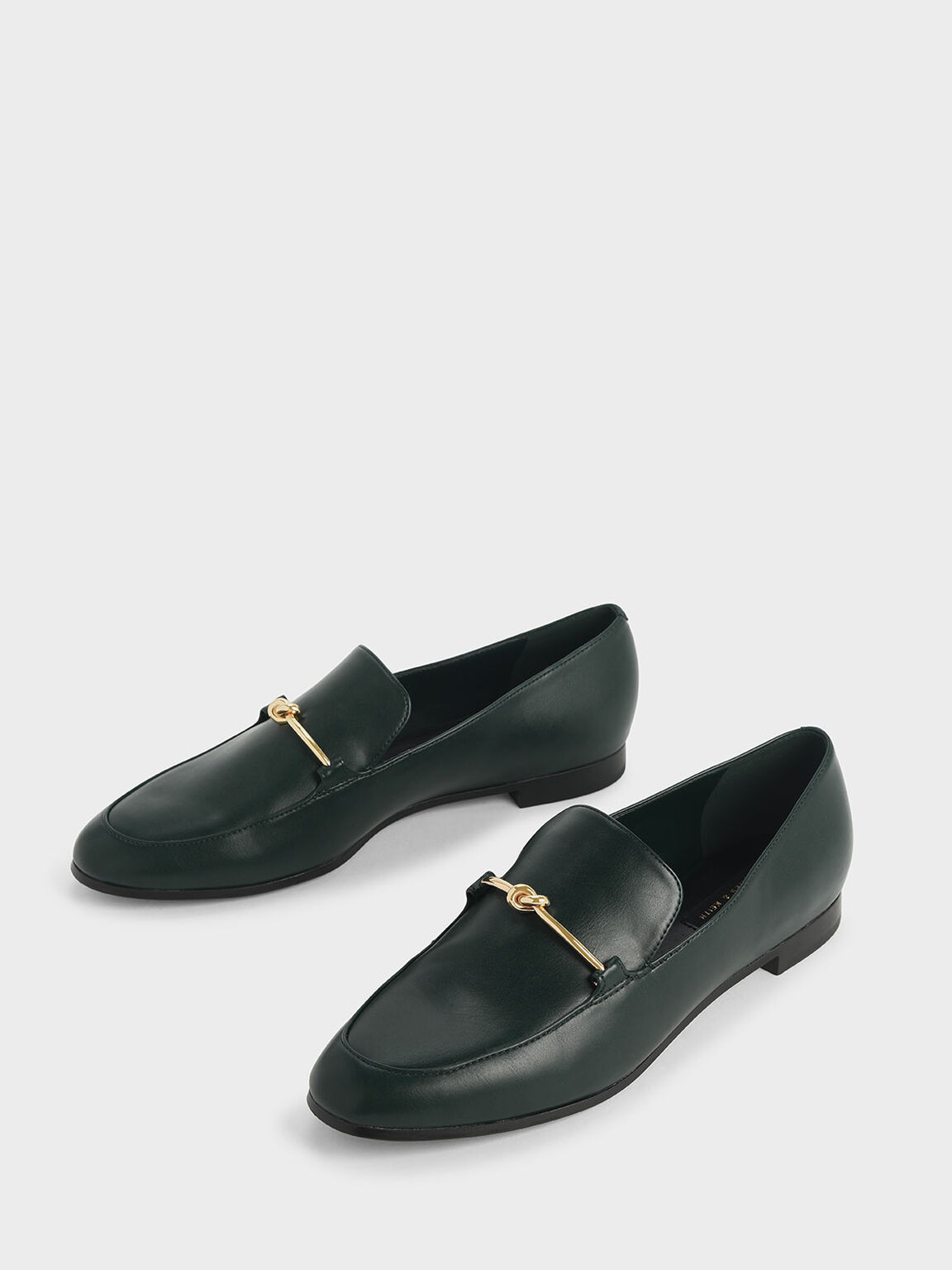 Metallic Knot Accent Loafers, Green, hi-res
