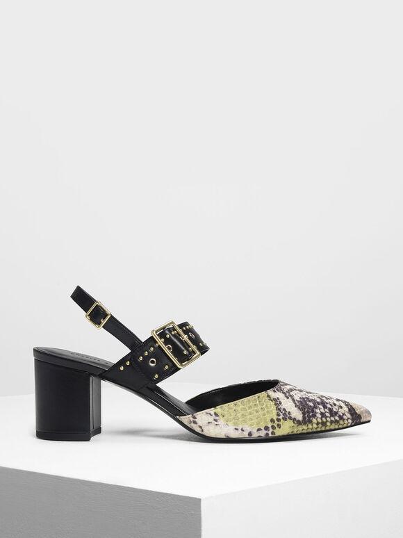 Snake Print Studded Slingback Heels, Yellow, hi-res