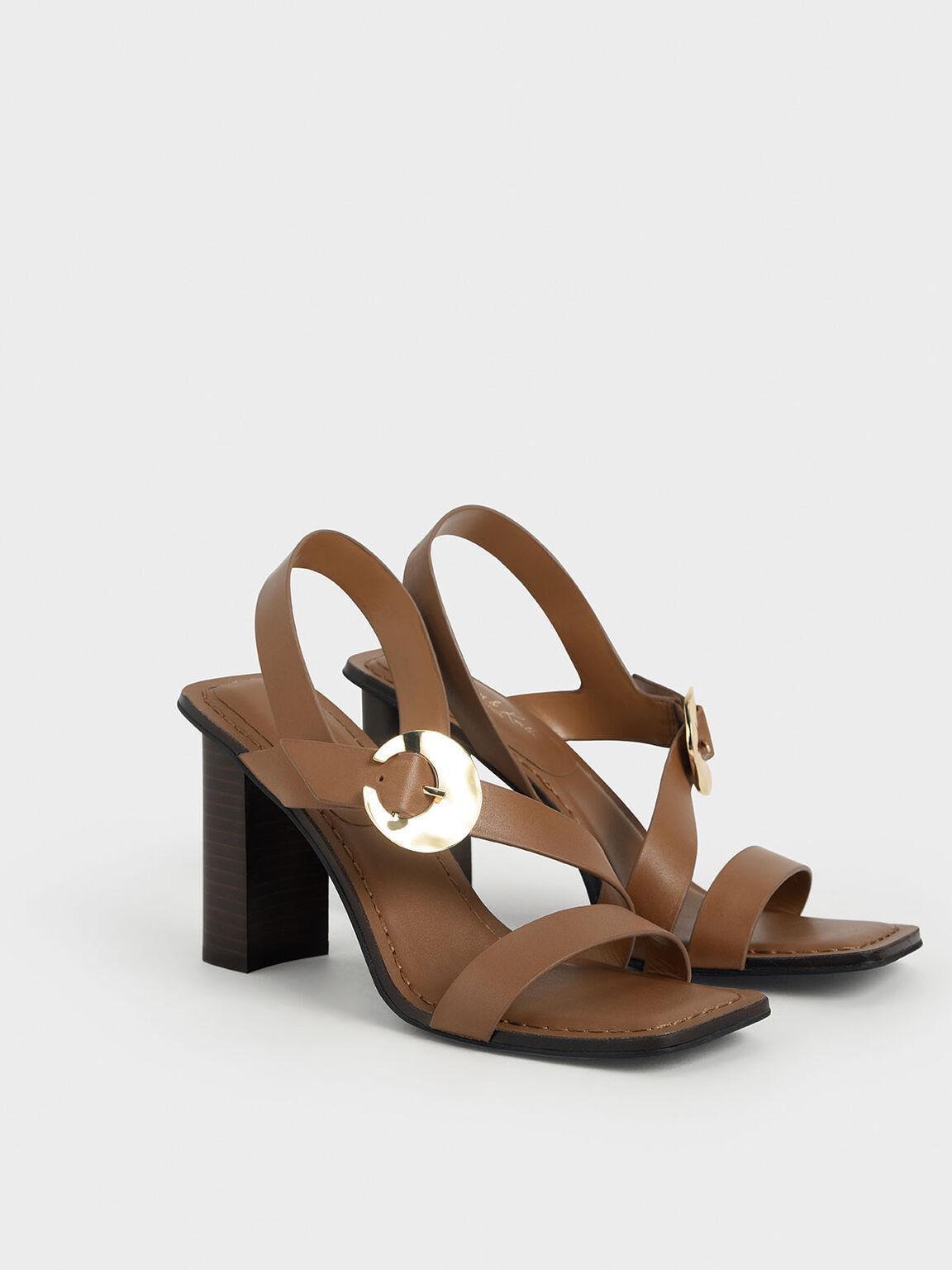 Leather Hammered Buckle Heeled Sandals, Brown, hi-res