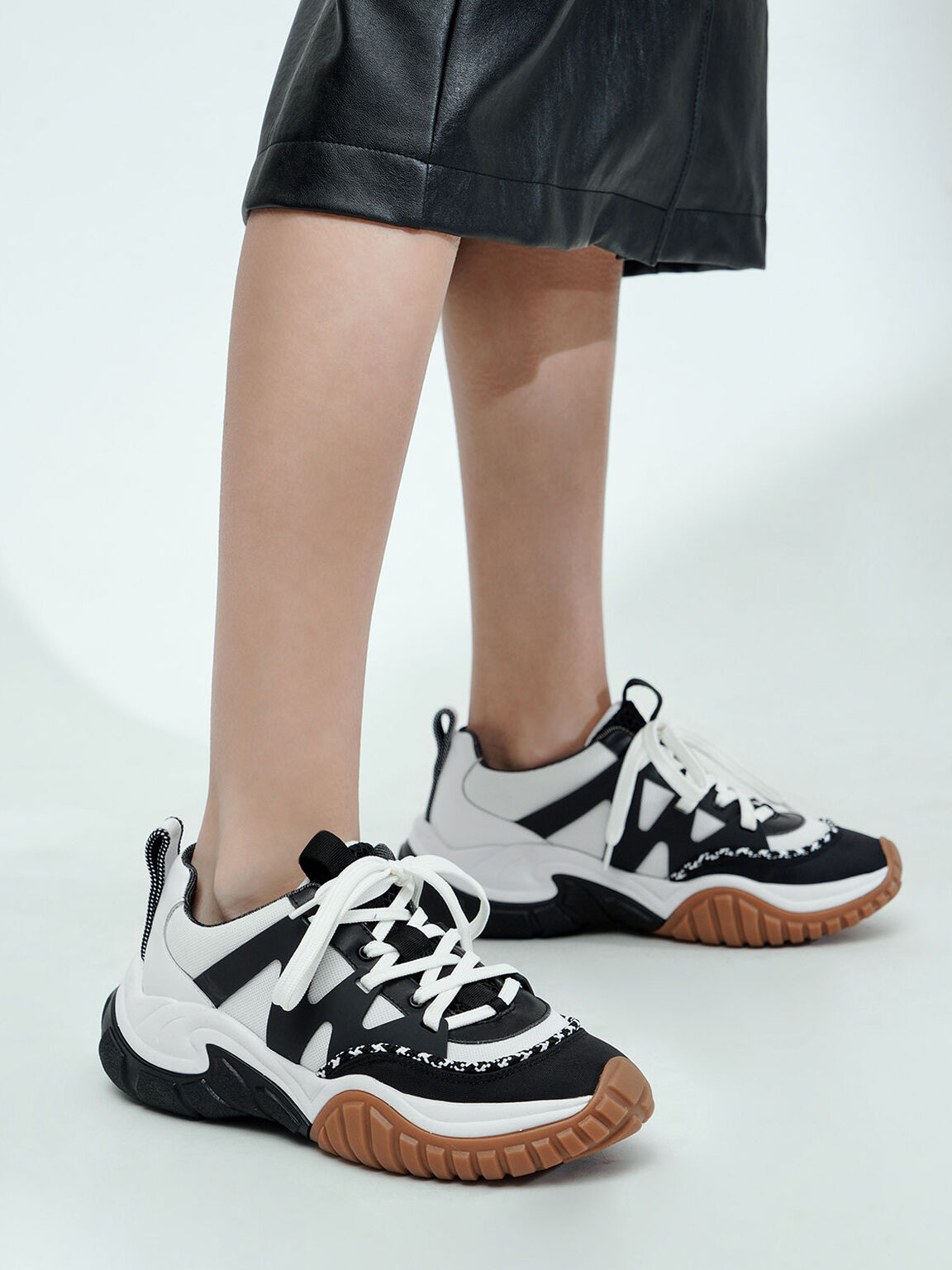 Mesh & Netting Chunky Trainers, Black, hi-res