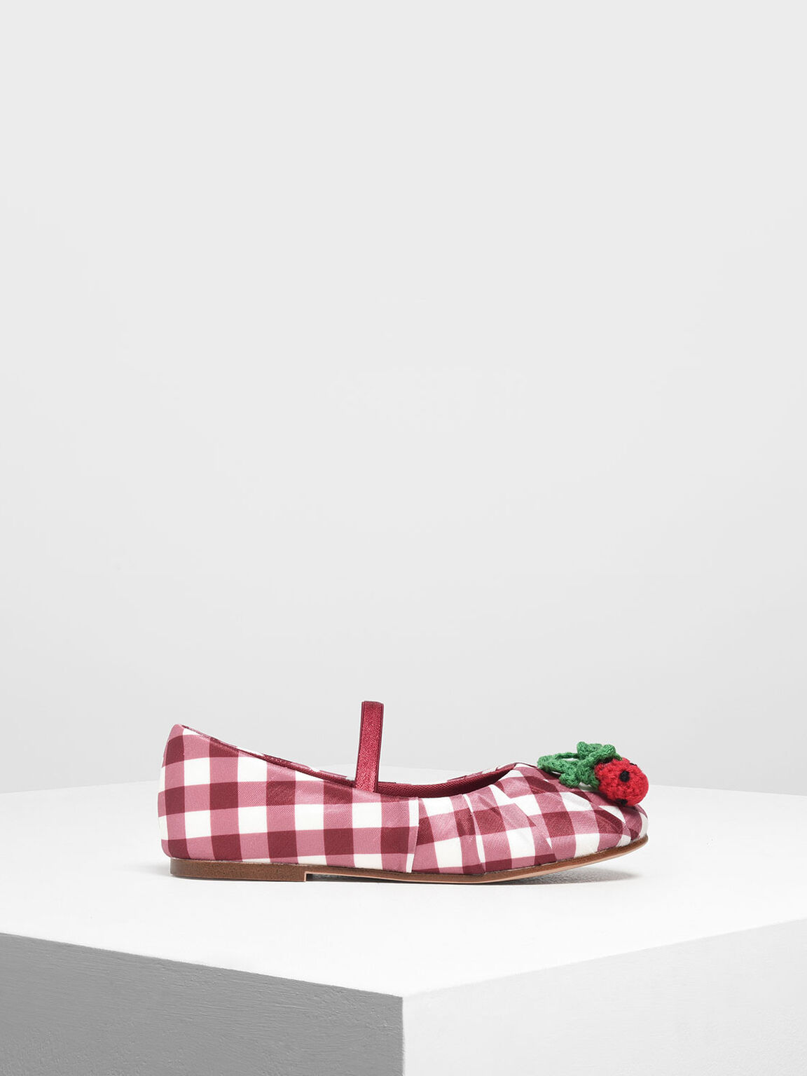 Girls' Cherry Embellished Check Print Mary Janes, Red, hi-res
