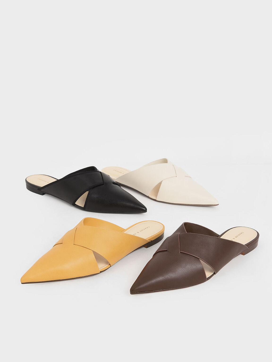 Woven Pointed Toe Mules, Mustard, hi-res