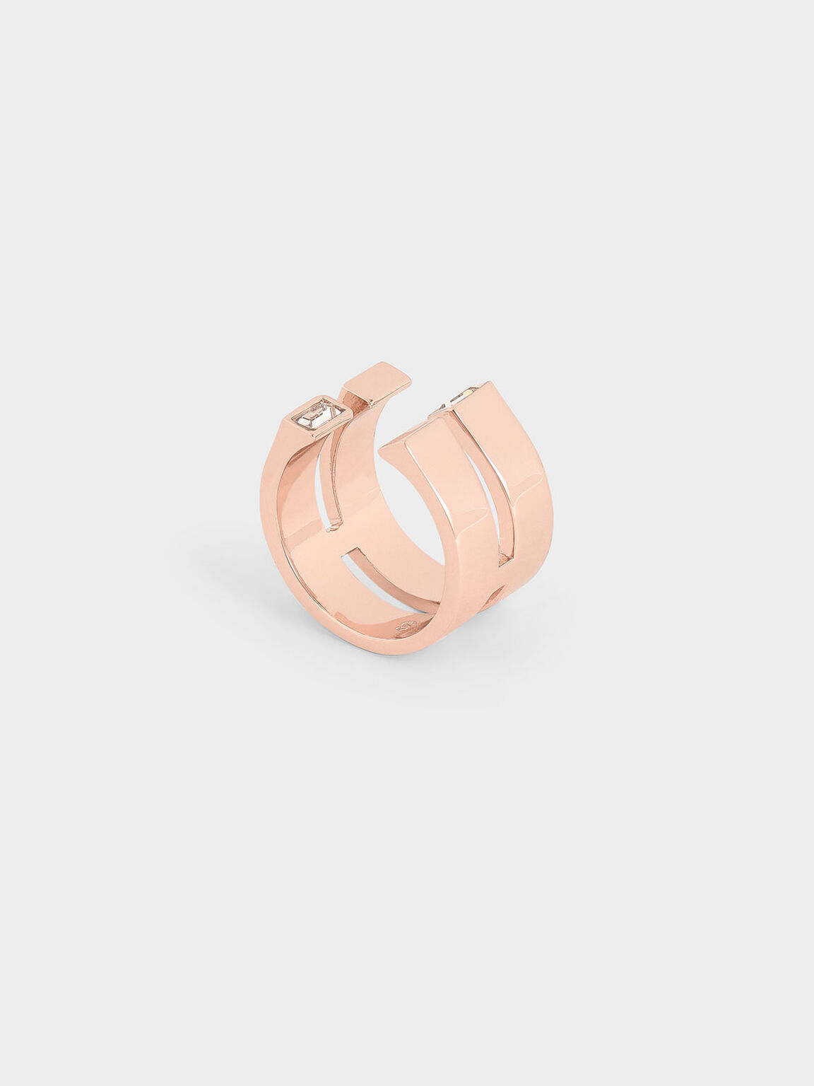 Swarovski® Crystal Double Band Open Ring, Rose Gold, hi-res