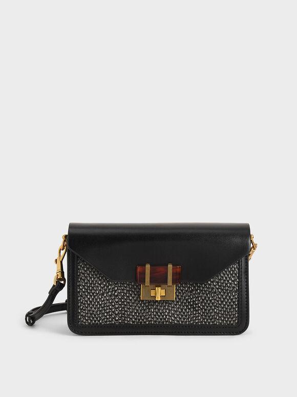 Snake Print Stone-Embellished Envelope Bag, Multi, hi-res