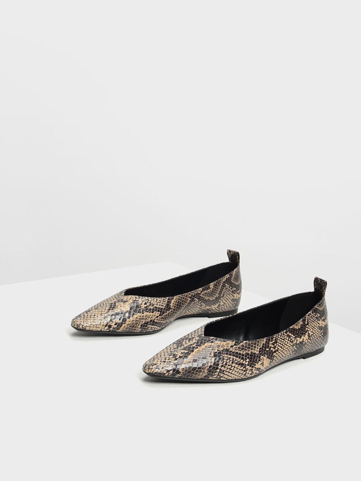 Snake Print Ballerinas, Sand, hi-res