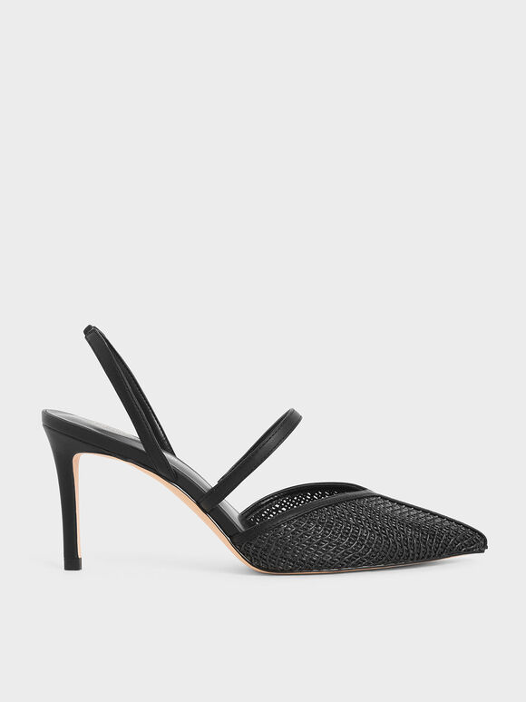 Woven Mary Jane Slingback Pumps, Black, hi-res