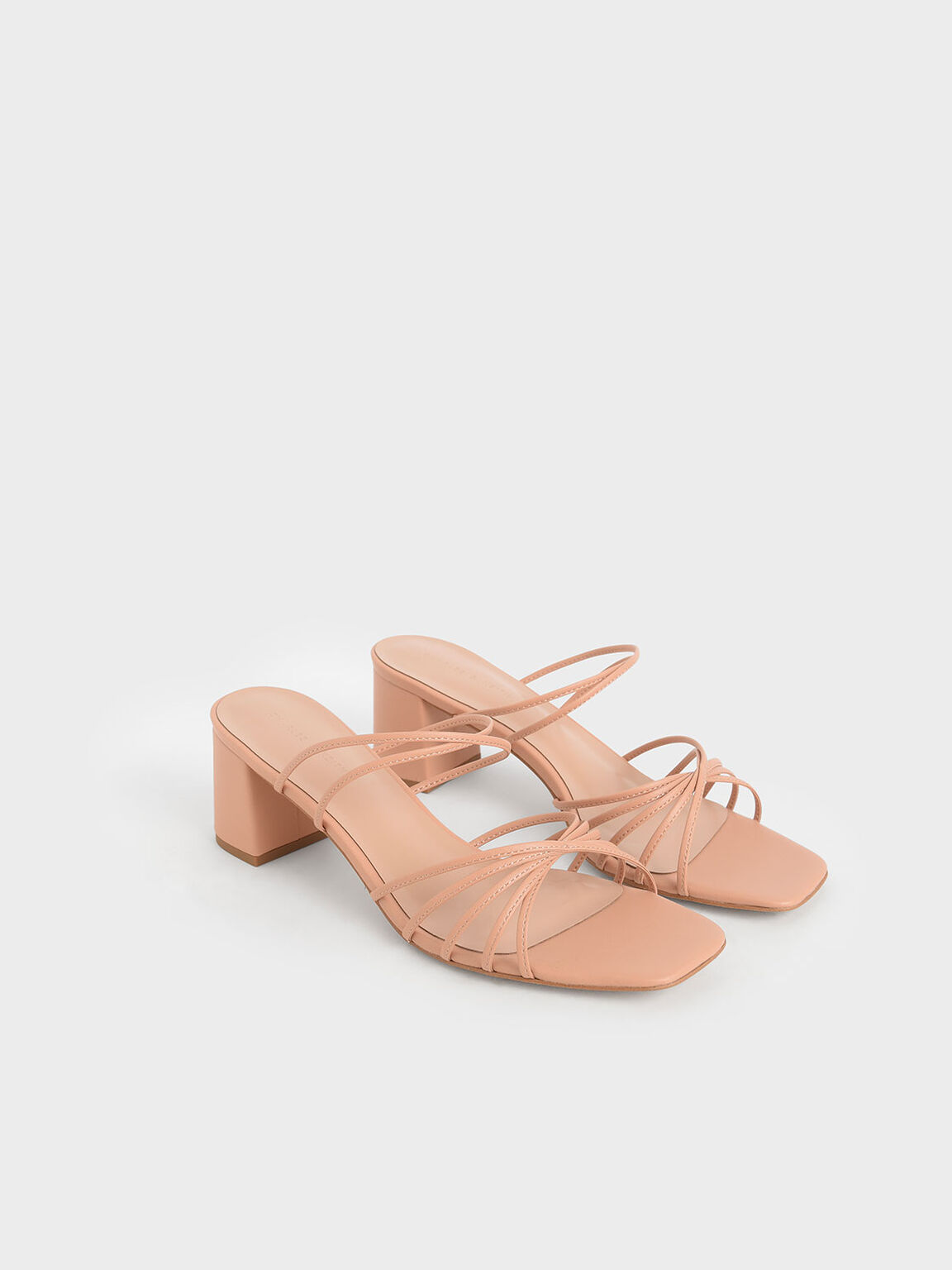Strappy Square Toe Sandals, Nude, hi-res