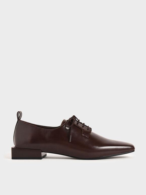 Square Toe Oxford Shoes, Dark Brown, hi-res