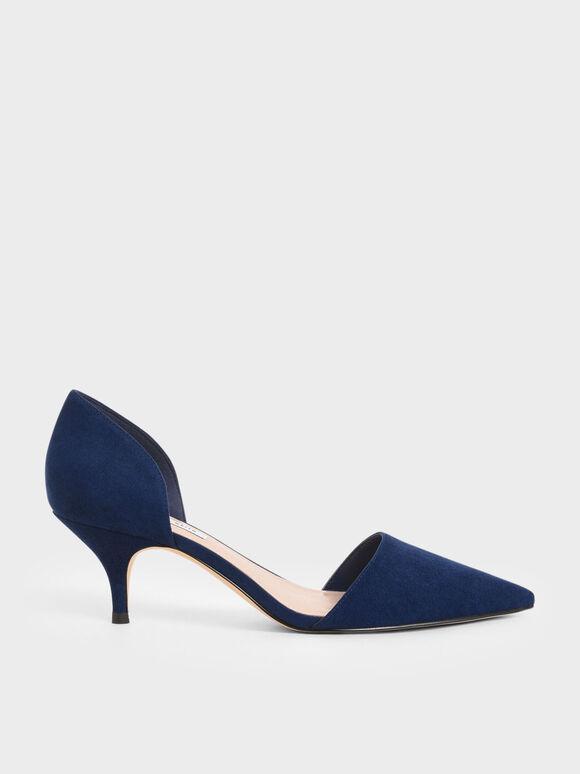 D'Orsay Glitter Fabric Kitten Heel Pumps, Dark Blue, hi-res