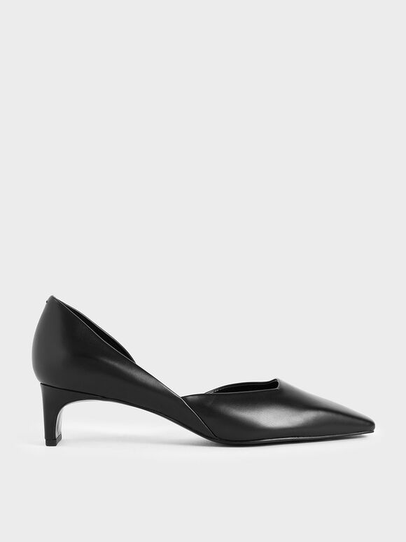 Square Toe D'Orsay Court Shoes, Black, hi-res