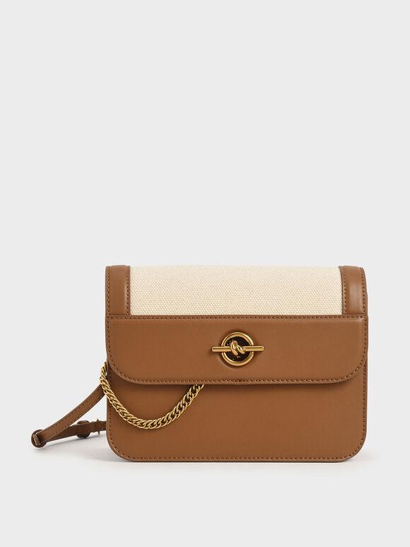 Metallic Accent Chain Handle Bag, Ivory, hi-res