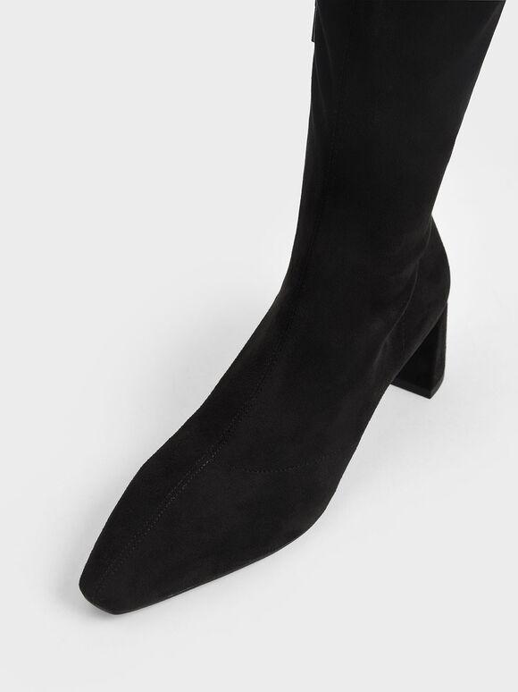Thigh High Blade Heel Boots, Black, hi-res