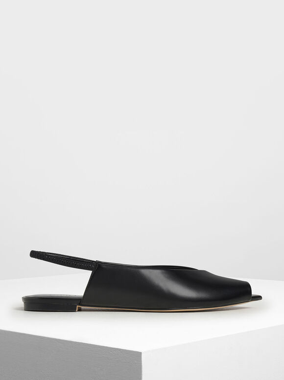 Pointed Peep Toe Slingback Flats, Black, hi-res