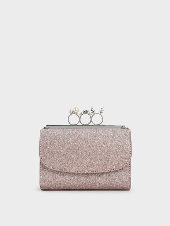 Glittered Knuckle-Ring Clutch, Rose Gold, hi-res