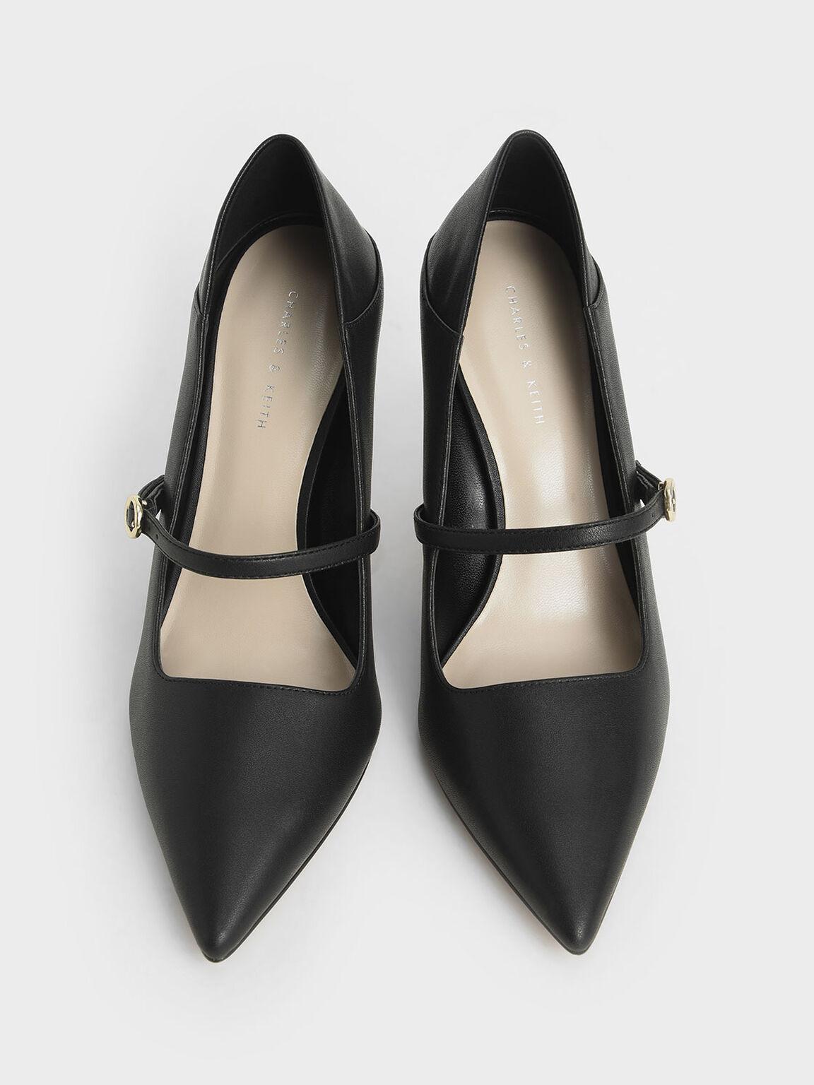 Mary Jane Stiletto Court Shoes, Black, hi-res
