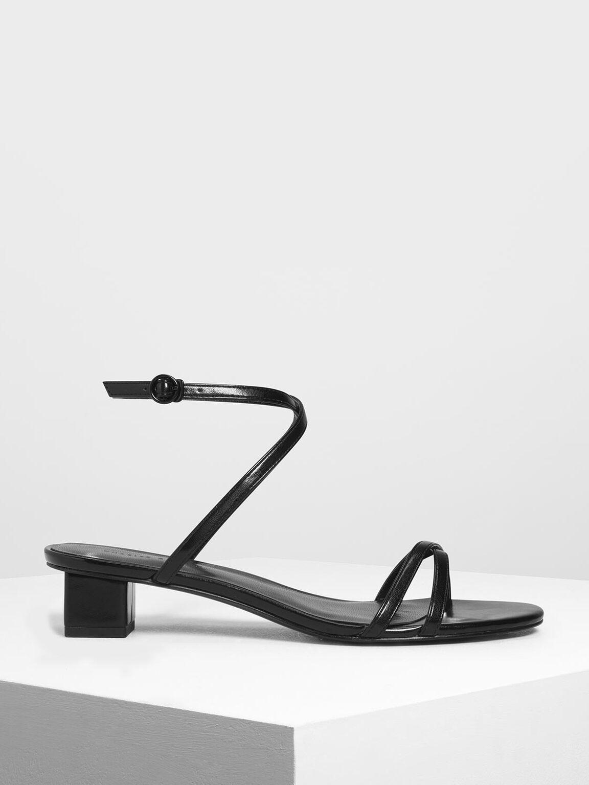 Criss Cross Low Heel Sandals, Black, hi-res