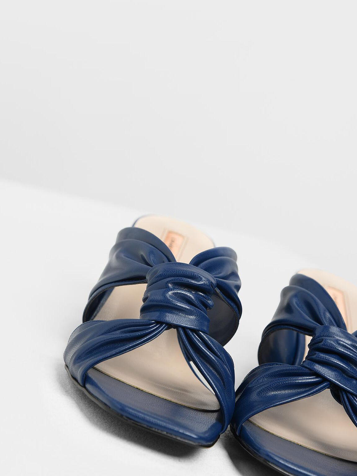 Ruched Block Heel Slide Sandals, Dark Blue, hi-res